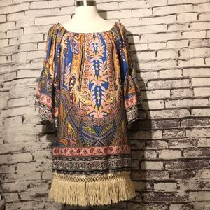 BoHo Print Fringe Dress